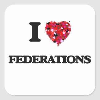 Amo federaciones pegatina cuadrada
