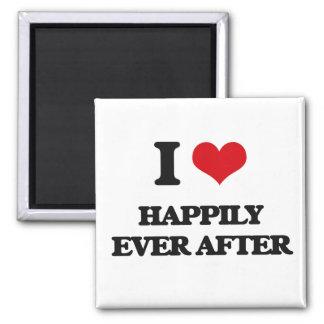 Amo feliz siempre después imán cuadrado