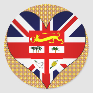 Amo Fiji Pegatina Redonda