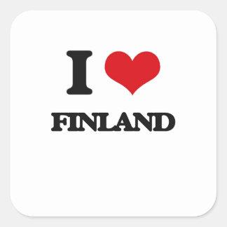 Amo Finlandia Calcomanías Cuadradass Personalizadas