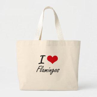 Amo flamencos bolsa tela grande