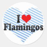 Amo flamencos etiquetas redondas