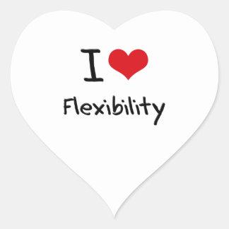 Amo flexibilidad pegatina en forma de corazón