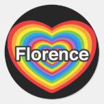 Amo Florencia. Te amo Florencia. Corazón Etiqueta Redonda