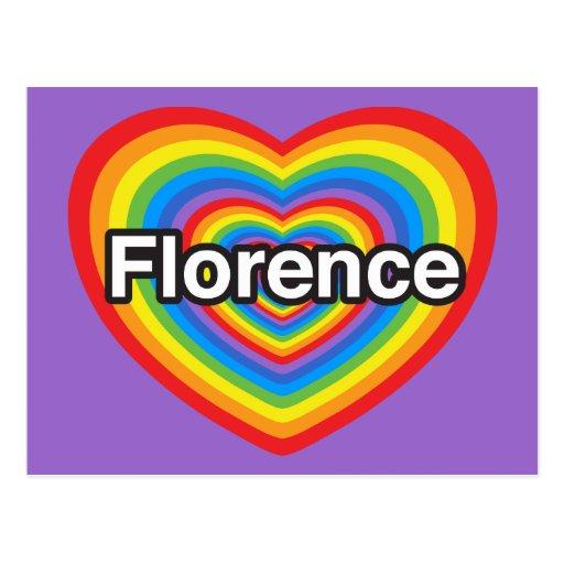 Amo Florencia. Te amo Florencia. Corazón Postal