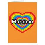 Amo Florencia. Te amo Florencia. Corazón Tarjetón