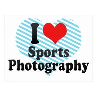 Amo fotografía de los deportes tarjeta postal