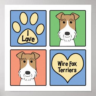 Amo fox terrier del alambre póster