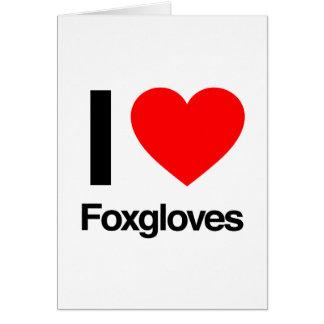 amo foxgloves tarjeta de felicitación
