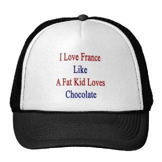 Amo Francia como un chocolate de los amores del Gorros Bordados