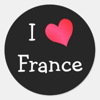 Amo Francia Etiqueta Redonda