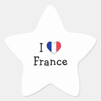 Amo Francia Pegatina En Forma De Estrella