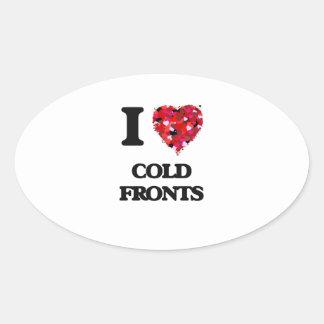 Amo frentes fríos pegatina ovalada