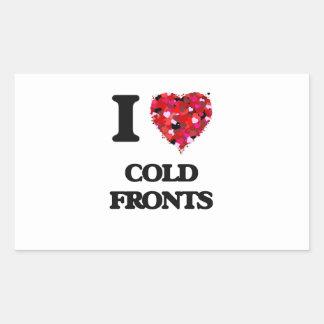 Amo frentes fríos pegatina rectangular