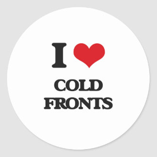 Amo frentes fríos pegatina redonda