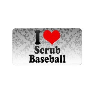 Amo friego béisbol etiqueta de dirección
