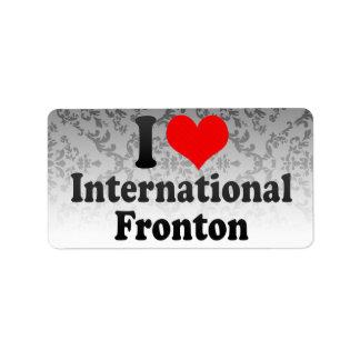 Amo Fronton internacional Etiqueta De Dirección