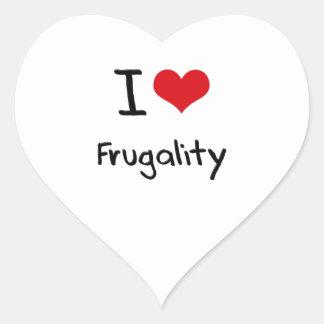 Amo frugalidad pegatina corazon