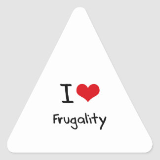 Amo frugalidad calcomania triangulo