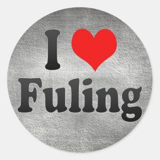 Amo Fuling, China. Wo Ai Fuling, China Pegatina Redonda