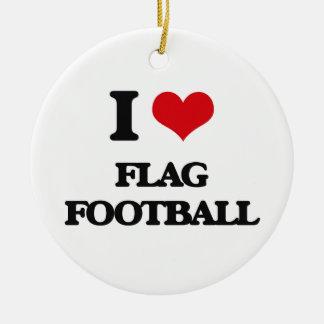Amo fútbol de bandera adorno navideño redondo de cerámica
