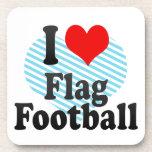 Amo fútbol de bandera posavasos de bebida
