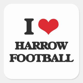 Amo fútbol de la grada pegatina cuadrada