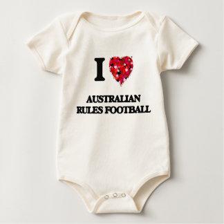 Amo fútbol de las reglas del australiano body para bebé