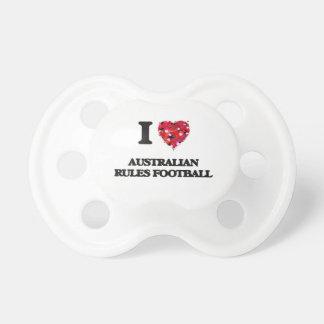 Amo fútbol de las reglas del australiano chupetes de bebé