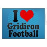 Amo fútbol del Gridiron Felicitación