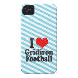Amo fútbol del Gridiron iPhone 4 Case-Mate Fundas