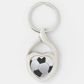 Amo fútbol llavero plateado en forma de corazón