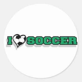 Amo fútbol pegatinas redondas