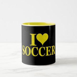 Amo fútbol taza dos tonos