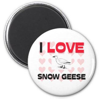 Amo gansos de nieve imán de nevera