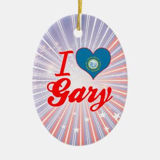 Amo Gary, Dakota del Sur Adorno Navideño Ovalado De Cerámica