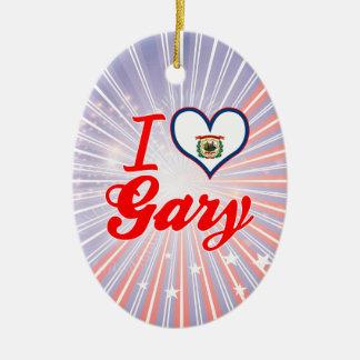 Amo Gary, Virginia Occidental Adorno Navideño Ovalado De Cerámica