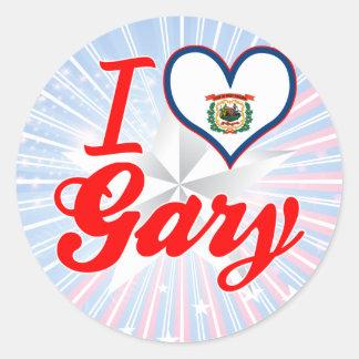 Amo Gary, Virginia Occidental Pegatina Redonda