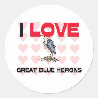 Amo garzas de gran azul etiqueta