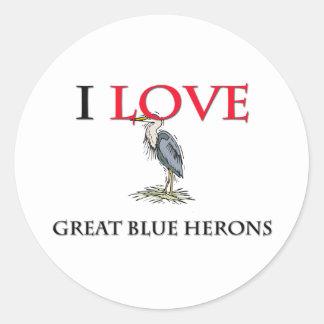 Amo garzas de gran azul etiqueta redonda