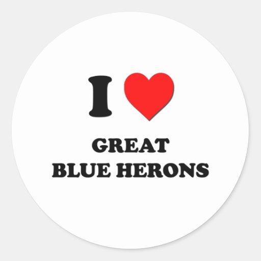 Amo garzas de gran azul etiquetas redondas