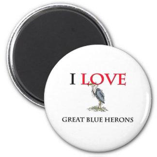 Amo garzas de gran azul imán de frigorifico
