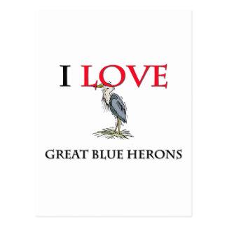 Amo garzas de gran azul tarjeta postal