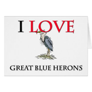 Amo garzas de gran azul tarjeton