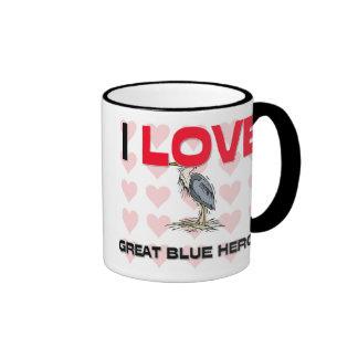 Amo garzas de gran azul taza de café