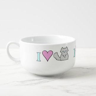 Amo gatitos blancos mullidos tazón para sopa
