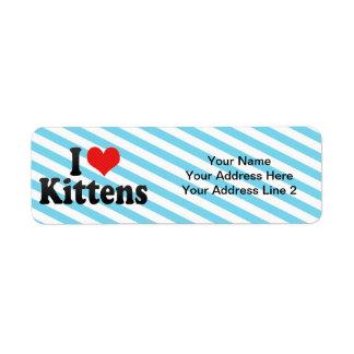 Amo gatitos etiquetas de remite