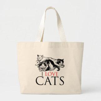 Amo gatos bolsa tela grande