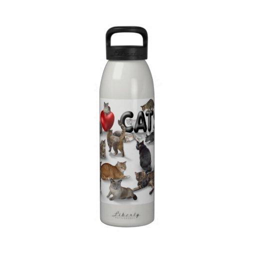 Amo gatos botella de beber