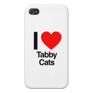 amo gatos de tabby iPhone 4/4S carcasa